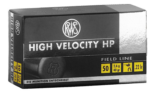 RWS High Velocity Ammunition 22 Long Rifle 40 Grain Lead Hollow Point 500 Round Case