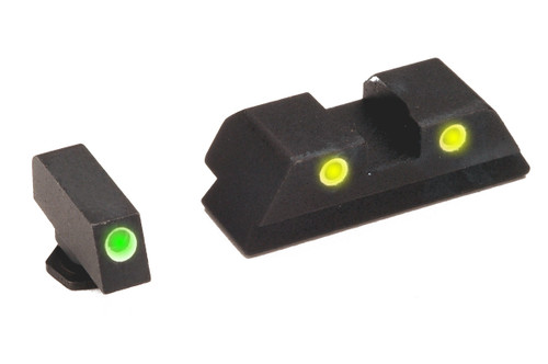 Ameriglo Classic Yellow Green Trijicon Night Sight Set For Glock GL-115 GL115 GL 115 644406900313 17 19 30 21 22 34 33 9MM 9 MM Luger .40 .45 ACP CAL