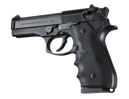 Hogue Beretta 92 96 Series Rubber Grip With Finger Grooves Black 92000 0743108920008 9MM 9x19MM Luger 9 Pistol Handgun