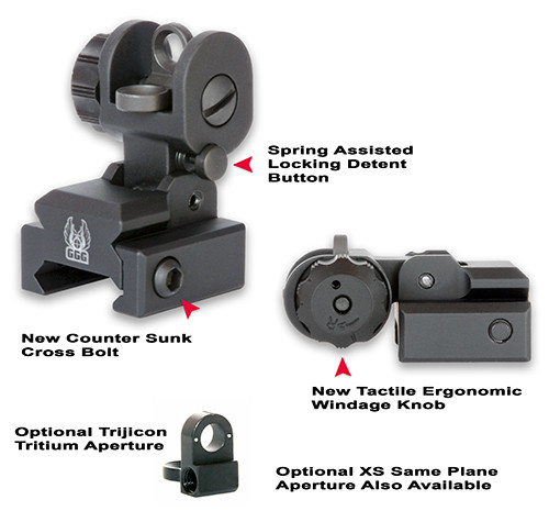 GG&G A2 AR-15 BUIS Rear Back Up Iron Sight GGG-1005 Standard Flip Aperture 813157000034 5.56