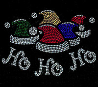 Christmas cap Ho Ho Ho Rhinestone Transfer Iron on