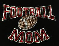 Football Mom Red Ark Rhinestone Transfer