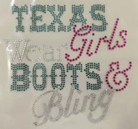 Texas Girls Wear Boots n Bling B Rhinestone Transfer Iron on