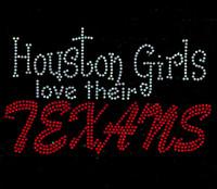 Houston Girls Love Their Texans Rhinestone Transfer Iron on