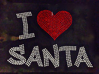 I Love Santa Christmas Rhinestone Transfer