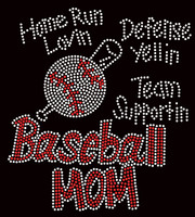 Baseball Mom Home Run Loving Rhinestone Transfer Iron on