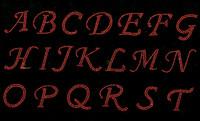"1.25"" Cursive Letter Alphabet (ORANGE or any Color) Rhinestone Transfer"