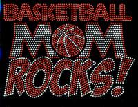 Basketball Mom Rocks Rhinestone Transfer Iron On