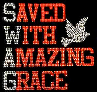 Saved with Amazing Grace Red Rhinestone Transfer Iron on