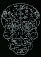 Sugar Skull Clear Rhinestone transfer iron on