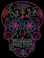Sugar Skull Pink Rhinestone transfer iron on