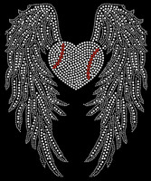Large Wing with Heart shape Baseball Rhinestone Transfer
