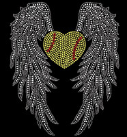 Large Wing with Heart shape Softball Rhinestone Transfer