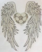 Large Wing with Heart shape Soccer Rhinestone Transfer DIY