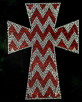 Chevron Cross RED Religious Rhinestone Transfer Iron on