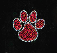 "(Set of 4) 2"" Paw RED Rhinestone Transfer Iron On"
