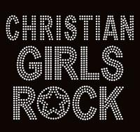 Christian Girls Rock Clear Text Rhinestone Transfer