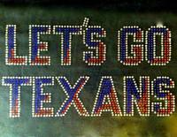 Let's Go Texans Text Rhinestone Transfer Iron On