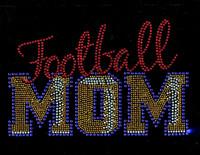 Football Mom Stitches Cobalt Rhinestone Transfer