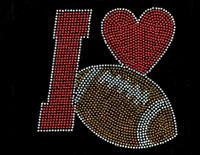 I love Football ball red heart fill Rhinestone Transfer Iron on