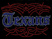 Texans Blue Text clear outline Rhinestone Transfer