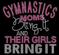 Gymnastics Moms bling it and their Girls bring it Fuchsia Pink Rhinestone Transfer