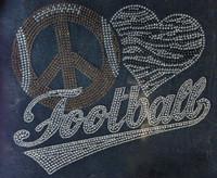 Large Peace Love Football Mascot Clear Brown Rhinestone Transfer