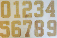 "(whole Sheet) 5"" Sports Number TOPAZ (GOLDEN) Rhinestone Transfer"