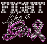 (Fuchsia) Fight like a Girl Ribbon Breast Cancer Awareness Rhinestone Transfer