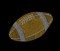 "8.5"" Football ball Rhinestone Transfer Iron on"