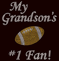 My Grandson's Football #1 Fan Rhinestone Transfer Iron on DIY