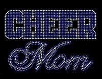 CHEER MOM Text (Cobalt Blue) Rhinestone Transfer