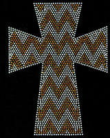 Chevron Cross GOLDEN Topaz Religious Rhinestone Transfer Iron on