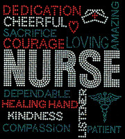 NURSE Words Dedication Cheerful Sacrifice Loving Amazing Words Rhinestone transfer