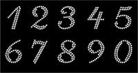 "(10 numbers Sheet) 1.25"" (Cursive italic) CLEAR Rhinestone Transfer"