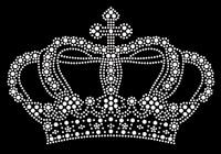 "Crown (Large) 7.6""(W) x 5""(H) Silver Rhinestone Transfer Iron on"