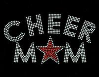Cheer Mom Star (Orange) Rhinestone Transfer