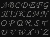 """1.25"""" Cursive Letter Alphabet CLEAR Rhinestone Transfer - DIY"""