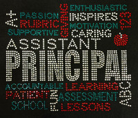 ASSISTANT PRINCIPAL Words School Rhinestone transfer