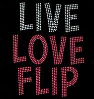 Live Love Flip Rhinestone Transfer Iron on