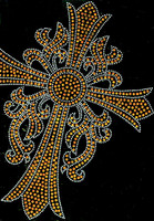 Cross Leaf TOPAZ Religious Rhinestone transfer iron on