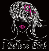 I Believe Pink Girl (Fuchsia Ribbon Straight Hair) Breast Cancer Awareness Rhinestone Transfer
