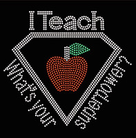 I Teach What's your Superpower Apple School Rhinestone transfer
