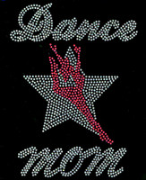 Dance Mom Girl Over Star Silhouette Rhinestone Transfer