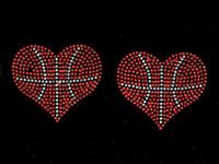 "(Set of 2) Basketball Ball Heart shape 3.75"" Rhinestone Transfer Iron on"