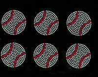 "(set of 6) 2.5"" Baseball Ball Rhinestone Transfer Iron on DIY"