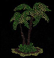 Palm Tree Dual Tropical Rhinestone Transfer Iron on
