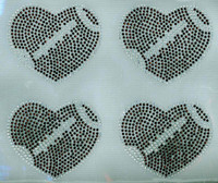 "(Set of 4) 4.3"" Football Ball Heart shape Rhinestone Transfer Iron on"