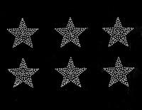 "(Set of 6) 2"" Star (Silver) Rhinestone Transfer Iron on"
