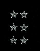 "(Set of 6) 1.5"" Star (CLEAR) Rhinestone Transfer Iron on"